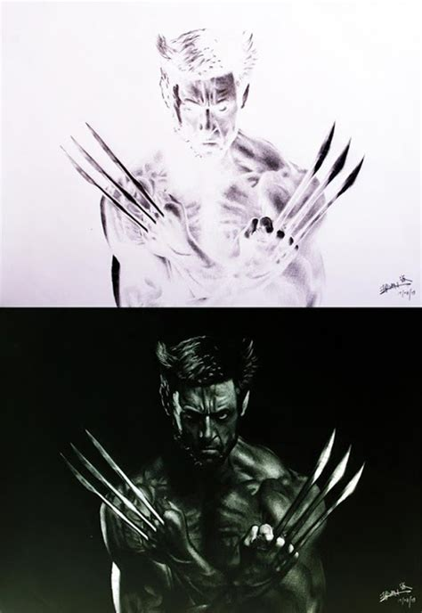 Artist's Inverted Sketches Reveal Wolverine Drawings