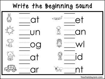 2 Write the Beginning Sounds Worksheets