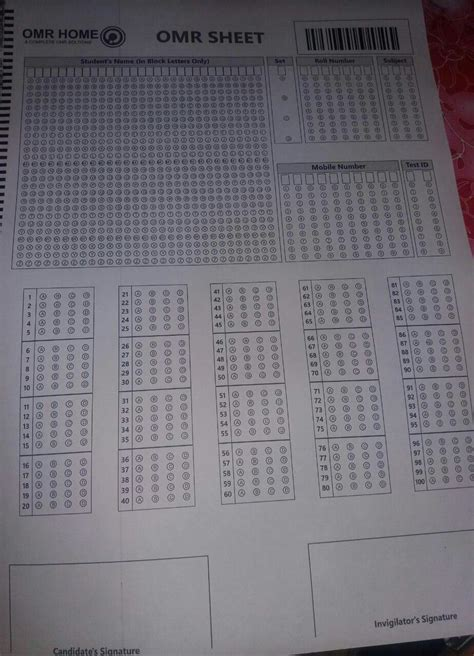 OMR Practice Loose Sheets (100 Questions)