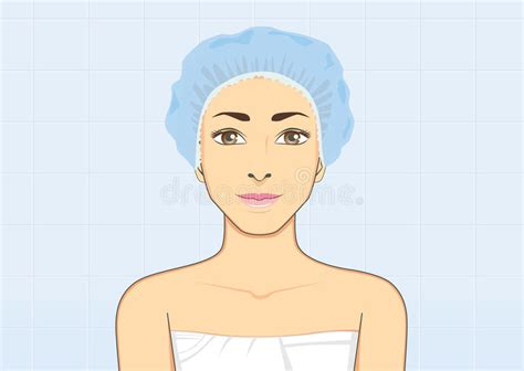 Woman Smiling Wearing A Shower Cap Stock Vector - Image