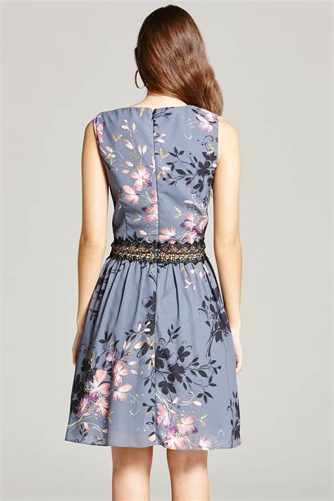 Grey Floral Print and Lace Skater Dress - from Little