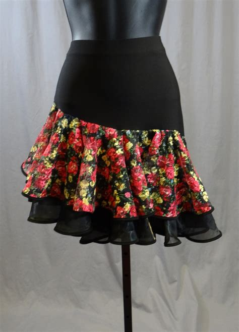 Two Layer Flower Pattern Latin Skirt with Built-in Under Pants