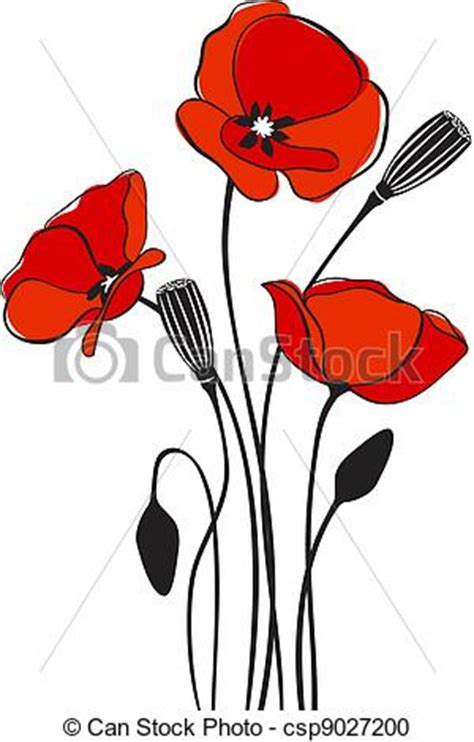 Vector Clipart of Poppy floral background - abstract