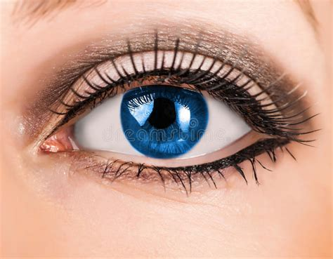 Beautiful Woman Blue Eye With Long Lashes Stock Image